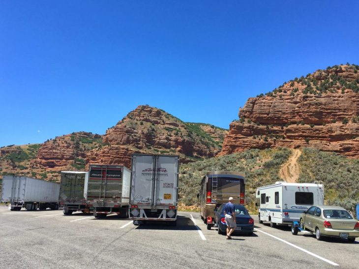 A beautiful view from a parking lot of a rest area on I-80 in Utah.