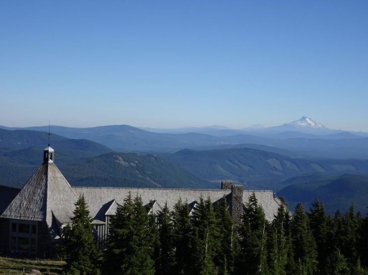 Timberline Lodge with Mt Jefferson in the background