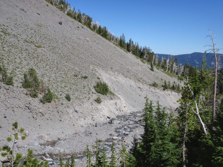 The tricky slide section above Clark Creek that we just hiked down.