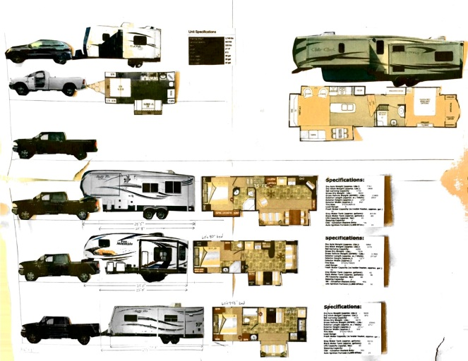 I copied, cut out and mocked-up scale models of RV combinations we were looking at. All pasted up on a big board with specs for each