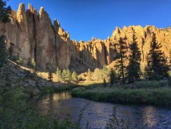 Crooked River with illuminated mountain in front of us.