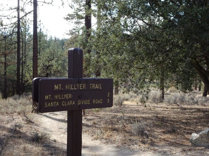 Trail sign to Mt Hillyer from Horse Flats Campground