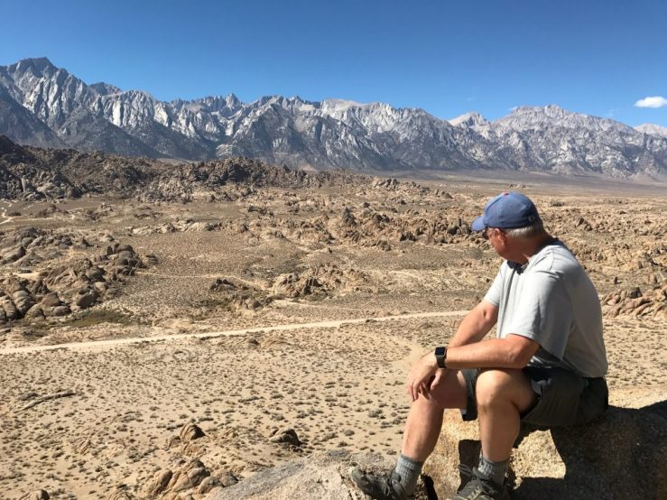 Admiring the view of the Alabama Hills and the Sierra Nevada