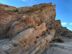 A close-up look of the uplifted rocks at Vasquez Rocks Park
