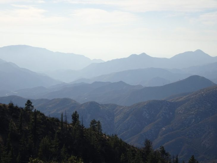 Spectacular view of San Gabriel Mountains from Mt Hillyer