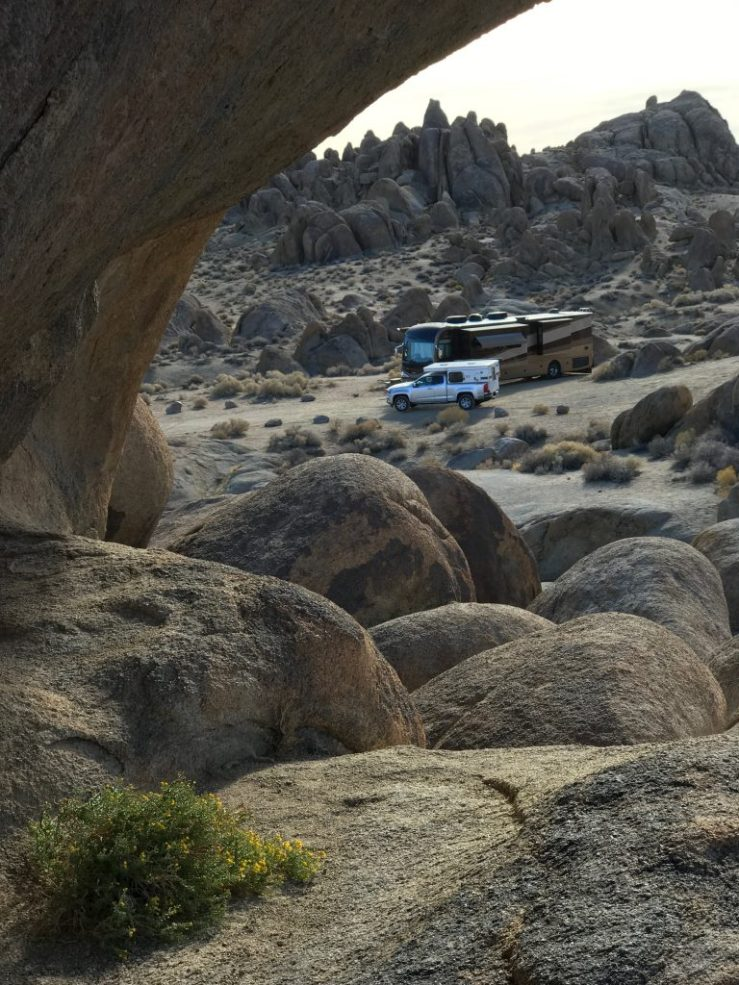 View of our boondocking spot from the top of a boulder pile nearby