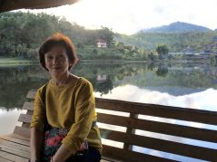 Mama at the lake in Ban Rak Thai Village
