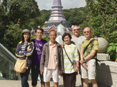 Group photo at the two chedis near Doi Inthanon