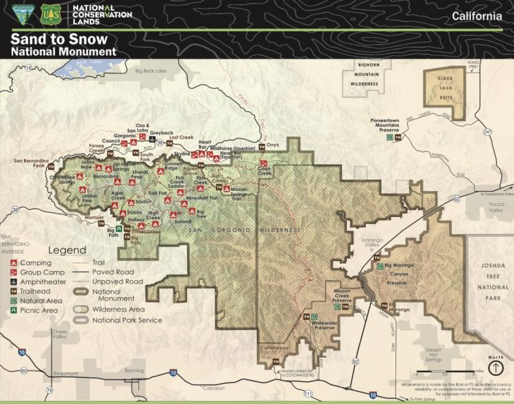 A map of Sand to Snow National Monument. Big Morongo Canyon Preserve is on the eastern part of the National Monument.