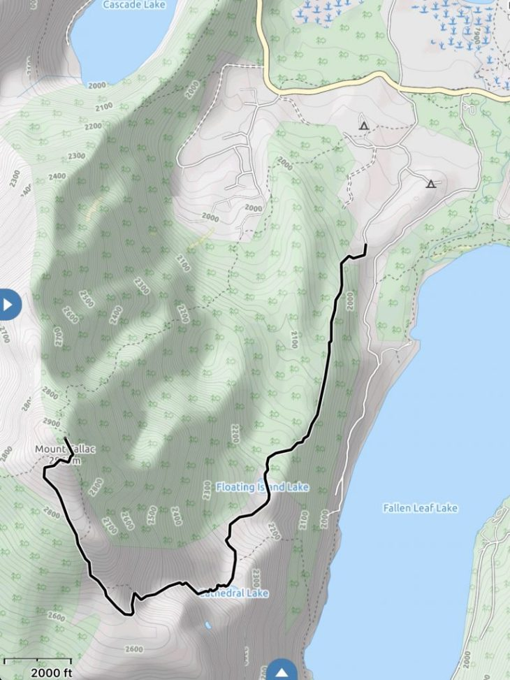 Map of Mt Tallac Trail. Topo lines are in meters.