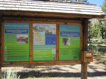 The wilderness permit kiosk at Mt Tallac Trailhead
