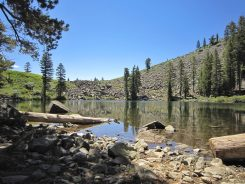Taking a break at Cathedral Lake before climbing up from here