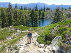 Looking back to Cathedral Lake from the trail above
