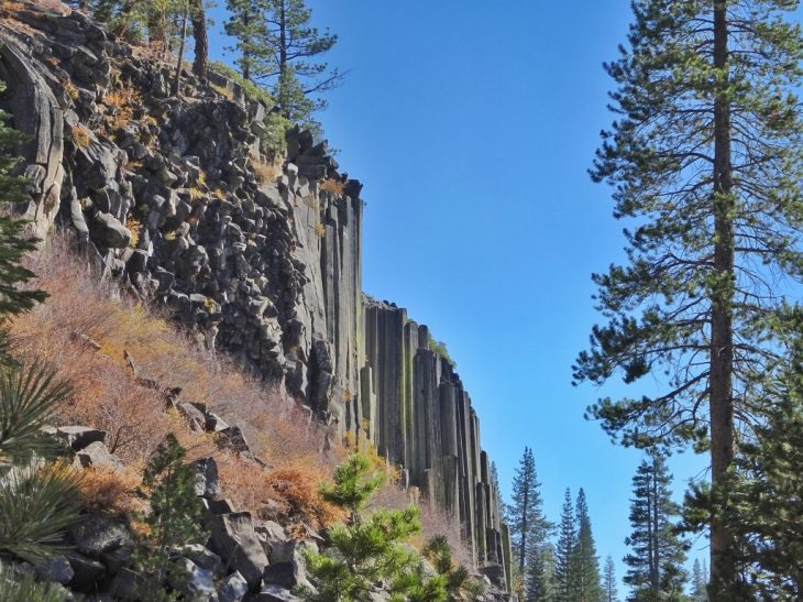 The first look of the Devils Postpile. We turned left to walk up to the top of the Postpile.