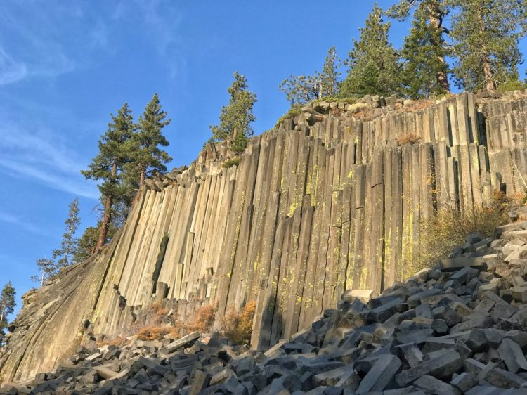 Walking in front of the Postpile on the way back