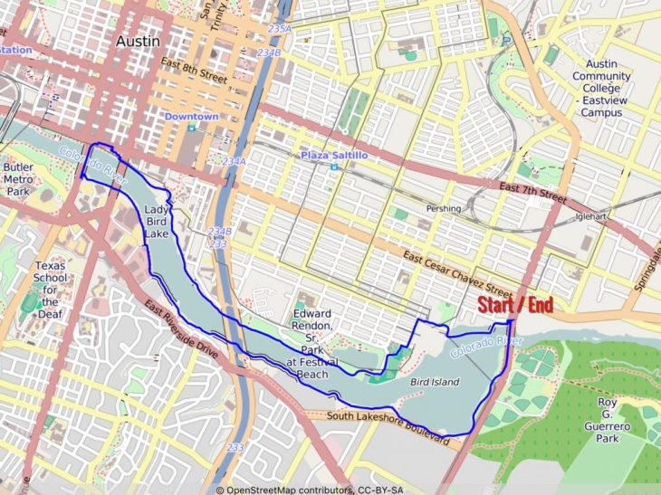Our nice walk around the Lady Bird Lake. It's an approximately 6.5-mile loop.
