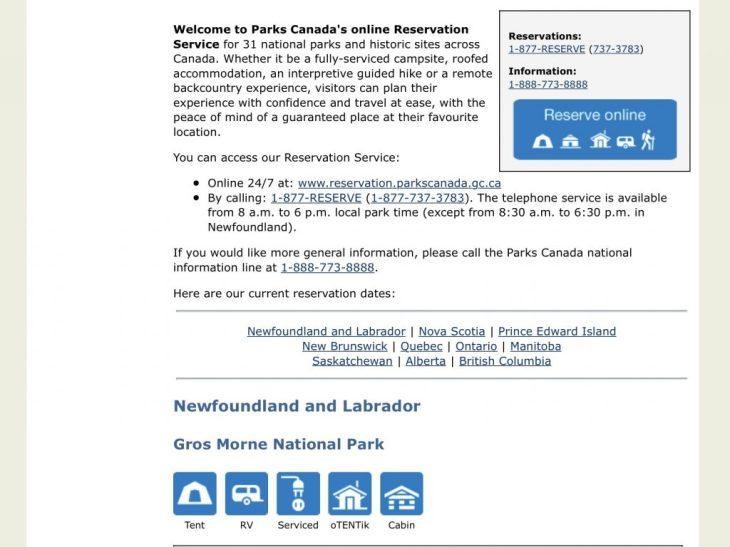 Online reservation including current reservation dates