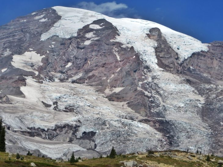 This photo shows a contrast between a glaciated slope of Mt Rainier and the meadows below.
