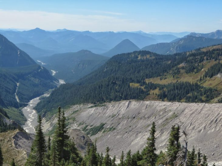 Nisqually River and lateral moraines from Glacier Vista