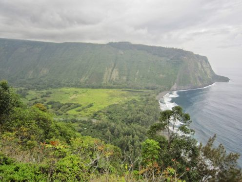 View from Waipio valley Lookout. It's about 800-900 ft down to the beach.